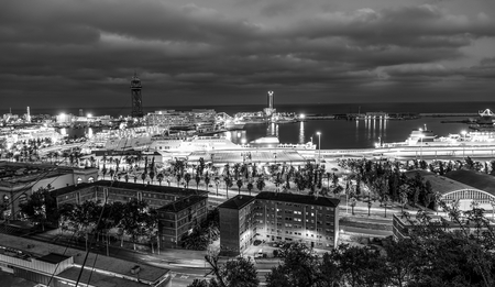 Barcelona by night - aerial view from Montjuic