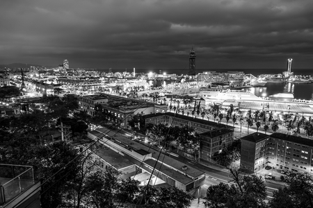 Amazing night shot of Port Vell in Barcelona