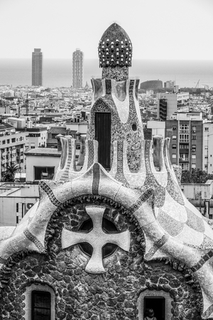 Impressive architecture and mosaic art at Park Guell in Barcelona