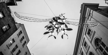 ロンドンでヤドリギ クリスマス装飾