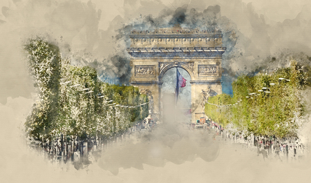 Lot of street traffic on Champs Elysees boulevard in Paris with Arc de Triomphe - Triumphs Arch