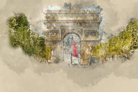 Famous landmark in Paris - Arc de Triomphe - Triumphs Arc Фото со стока
