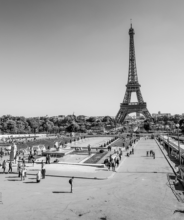 champs elysees: Impressive Eiffel Tower in Paris - view from Trocadero