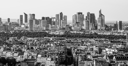 Modern district La Defense in Paris - distant aerial view