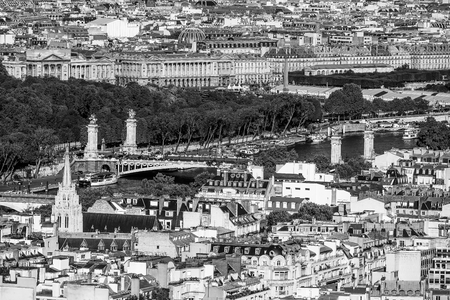 champs elysees: Aerial view over Alexandre III Bridge and River Seine in Paris