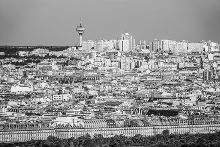 champs elysees: Montmartre hill in Paris - distant aerial view