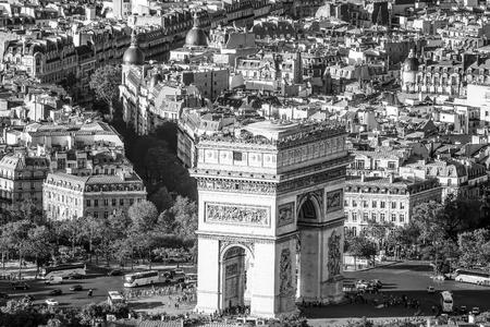 Famous Triumphs Arch called Arc de Triomphe in Paris - aerial view