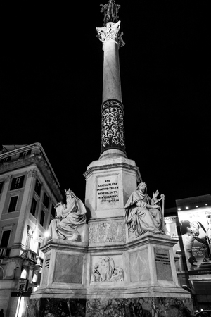 Big column at the Spanish Sqaure in Rome - Spagna Stock Photo