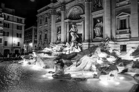 A beautiful place in Rome - the romantic Fountain of Trevi illuminated in the night Reklamní fotografie