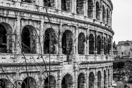 The famous Colosseum in Rome - Colisseo - a huge tourist attraction in the city