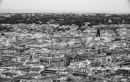 Impressive aerial view over the city of Rome from the top of St Peters Basilica