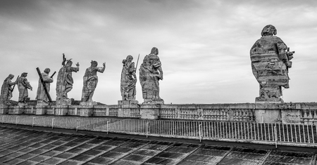Statues of holy men on St Peters Basilica in Rome - The Vatican