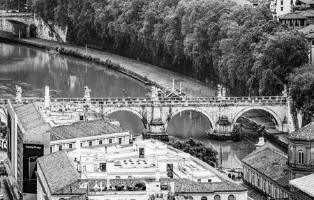 Aerial view over River Tiber and the bridges of Rome from St Peters Basilica at Vatican city Reklamní fotografie