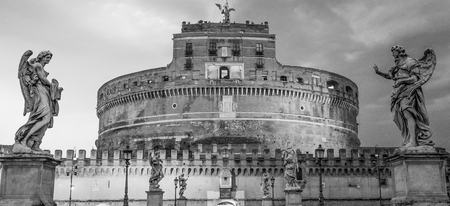 Angels Castle illuminated in the evening - Castel Sant Angelo in Rome