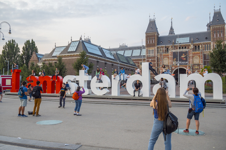 Big I Am Amsterdam letters at National Museum Amsterdam - AMSTERDAM - THE NETHERLANDS - JULY 20, 2017 Editöryel