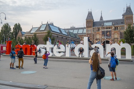 Big I Am Amsterdam letters at National Museum Amsterdam - AMSTERDAM - THE NETHERLANDS - JULY 20, 2017 Sajtókép