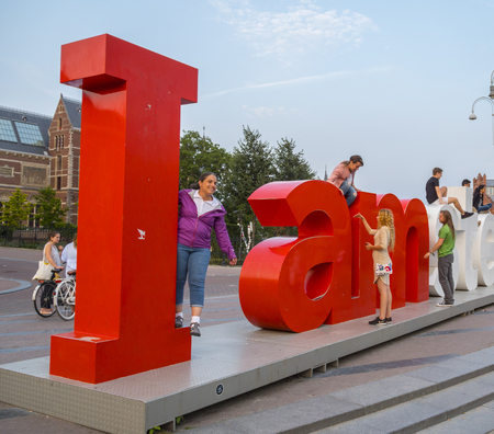The famous I Am Amsterdam letters at the National Museum in Amsterdam - AMSTERDAM - THE NETHERLANDS - JULY 20, 2017 Editöryel