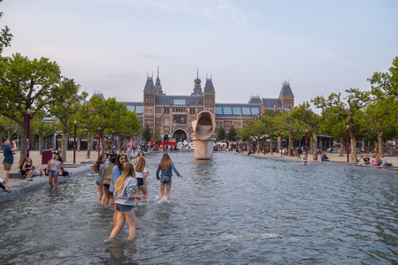 The pool in front of National Museum Amsterdam - AMSTERDAM - THE NETHERLANDS - JULY 20, 2017