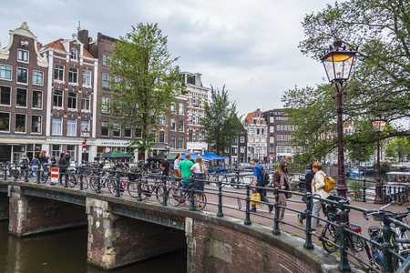 Famous Princes Canal in Amsterdam called Prinsengracht - AMSTERDAM - THE NETHERLANDS - JULY 20, 2017