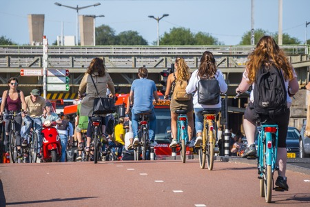 Amsterdam - a city full of bikers - typical view