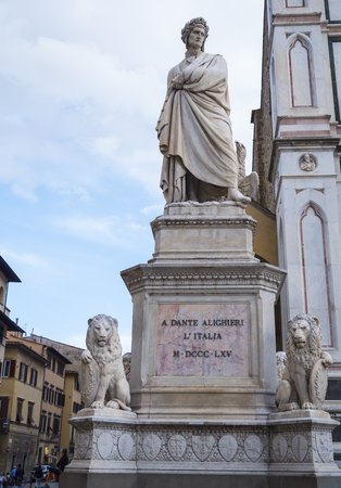 Famous statue of Dante Alighieri at Santa Croce Square in Florence
