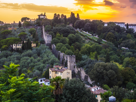 Beautiful sunset over the hills of Florence Stock Photo
