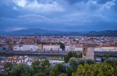 The city of Florence in the evening - panoramic view