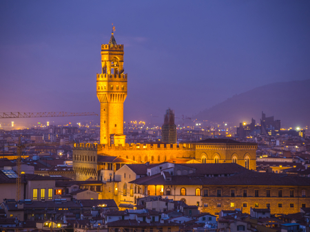Palazzo Vecchio in Florence in the evening - aerial view Stock Photo