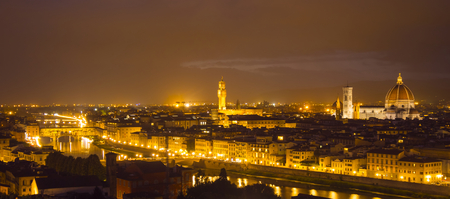 Panoramic view over the city of Florence from Michelangelo Square called Piazzale Michelangelo - Tuscany, Italy