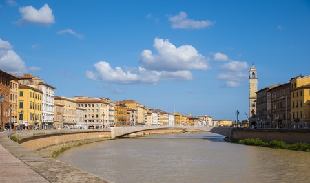 River Arno in the city of Pisa on a wonderful day- Tuscany Italy Stock Photo