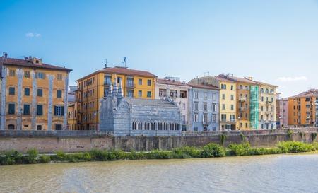 White church Santa Maria della Spina located at River Arno in Pisa - Tuscany Italy Stock Photo