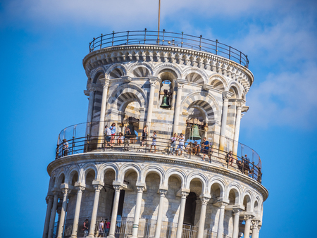 The Leaning Tower of Pisa on a sunny day - PISA  TUSCANY ITALY - SEPTEMBER 13, 2017