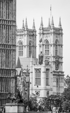 Westminster Abbey behind Houses of Parliament in London