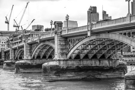 Amazing Southwark Bridge over River Thames Stock Photo