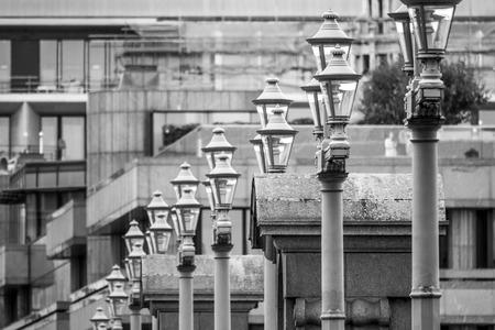 Street lanterns on Southwark Bridge in London