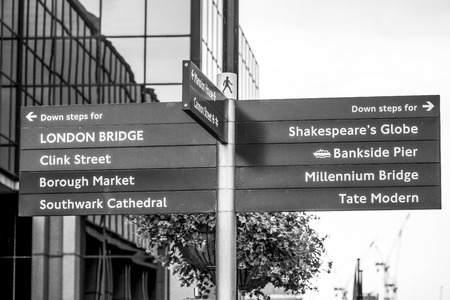 Direction signs in the City of London at Bankside