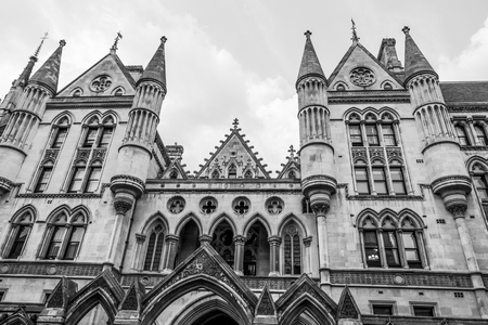 Impressive building of the Royal Courts of Justice in London