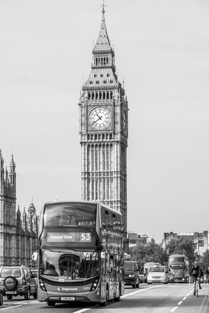 Queen Elizabeth Tower with Big Ben at Westminster - LONDON  GREAT BRITAIN - SEPTEMBER 19, 2016