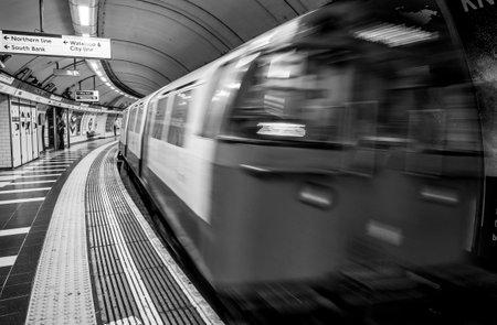 London Underground in motion - LONDON  GREAT BRITAIN - SEPTEMBER 19, 2016
