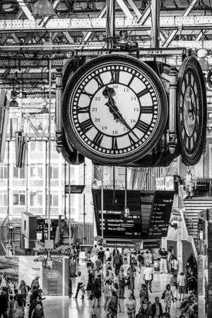 Famous clock at Waterloo Station - LONDON  GREAT BRITAIN - SEPTEMBER 19, 2016