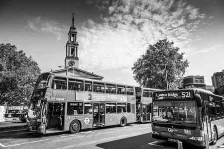London Red Buses at Waterloo - LONDON  GREAT BRITAIN - SEPTEMBER 19, 2016