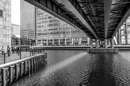 DLR Bridge over Middle Dock in Canary Wharf - LONDON  GREAT BRITAIN - SEPTEMBER 19, 2016