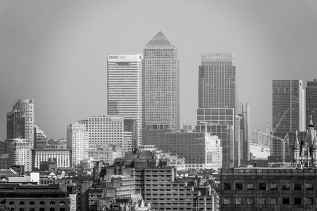 The skyscrapers of Canary Wharf district - financial center of London - LONDON  GREAT BRITAIN - SEPTEMBER 19, 2016