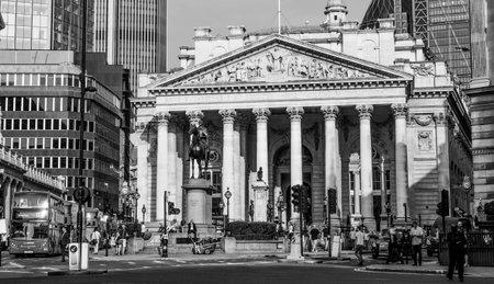 Royal Exchange Building in London - LONDON  GREAT BRITAIN - SEPTEMBER 19, 2016