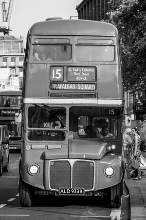 Old Bus in the City of London - LONDON  GREAT BRITAIN - SEPTEMBER 19, 2016