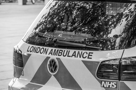 London Ambulance Car - emergency ambulance - LONDON  GREAT BRITAIN - SEPTEMBER 19, 2016