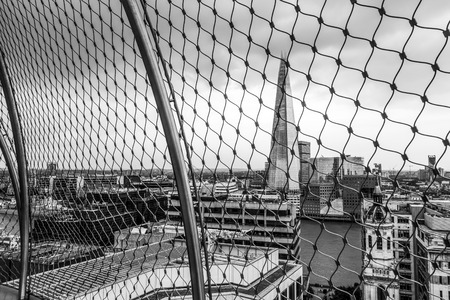 The viewing platform of London Monument - LONDON  GREAT BRITAIN - SEPTEMBER 19, 2016