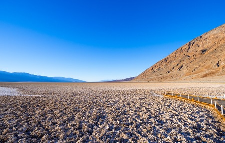 Beautiful scenery at Death Valley National Park California - Badwater salt lake Stock Photo