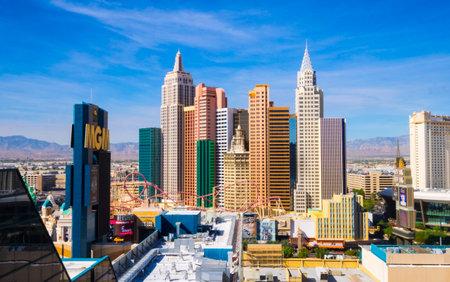 Beautiful skyline of Las Vegas Strip with NY NY Hotel and Casino - LAS VEGAS - NEVADA - OCTOBER 12, 2017 Editorial
