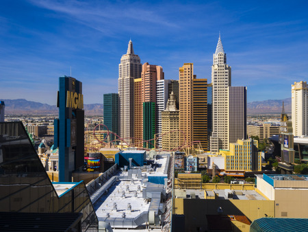 Beautiful skyline of Las Vegas Strip with NY NY Hotel and Casino - LAS VEGAS - NEVADA - OCTOBER 12, 2017 Editorial